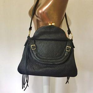 BULGA Leather Black Carry All Shoulder Bag Tassel